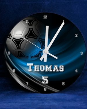 Personalised Name Football Clock - Blue