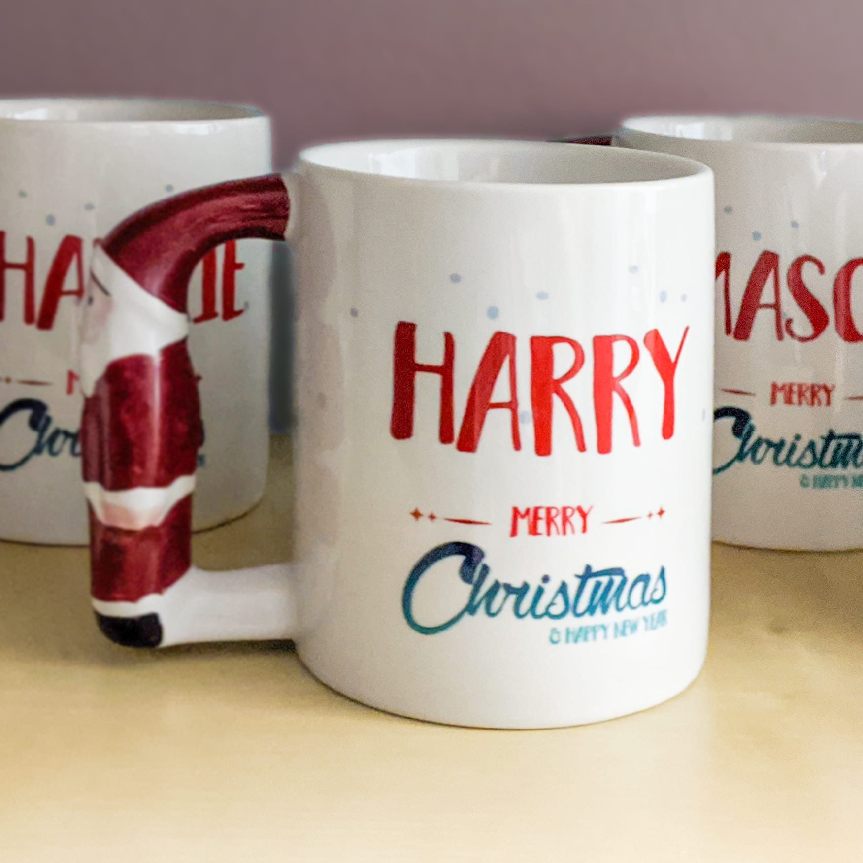 Father Christmas Handled Mug – personalised with Santa of your choice
